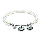Chrysalis Guardian White Pearl Blossom Expandable Charm Bangle