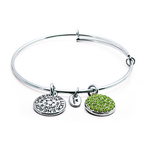 Chrysalis Good Fortune August Peridot Crystal Bangle