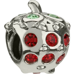 Chamilia Strawberry Red & Light Green Swarovski Bead