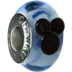 Chamilia Disney Mickey Blue Murano Glass Bead