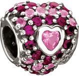 Chamilia Jeweled Heart in Heart Pink CZ Bead