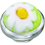 Kameleon White Flower Green Murano JewelPop