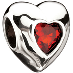 Miss Chamilia Heart - January Birthstone CZ Bead