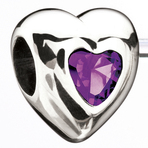 Miss Chamilia Heart - February Birthstone CZ Bead
