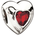 Miss Chamilia Heart-  July Birthstone CZ Bead