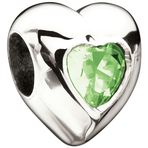 Miss Chamilia Heart - August Birthstone CZ Bead