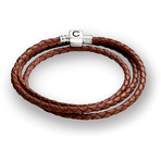 Chamilia Cognac Braided Leather Wrap Bracelet