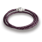 Chamilia Plum Braided Leather Wrap Bracelet