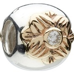Chamilia Retired Mixed Gold & Silver Flower CZ Bead