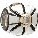 Chamilia Retired Gold & Silver Center CZ Bead