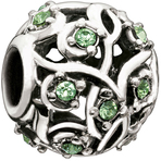 Chamilia Leaves & Vines Peridot Swarovski Bead - Cabaret Collection