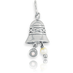 It's Charming Sterling Silver Bell with Pearl & Pink CZ Charm