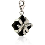 It's Charming Sterling Silver and Black Enamel Present Charm