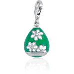 It's Charming Sterling Silver Green Egg with White Flowers Charm