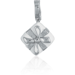 It's Charming Sterling Silver and White Enamel Present Charm