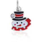 It's Charming Sterling Silver Black, Red and White Snowman Charm