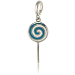 It's Charming Sterling Silver Blue and White Lollipop Charm
