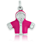 It's Charming Sterling Silver Pink Jacket with CZ Charm