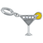 It's Charming Sterling Silver Cocktail with Lemon & CZ Charm
