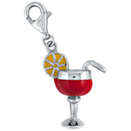 It's Charming Sterling Silver Red and Yellow Lemon Drink Glass Charm