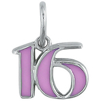 "It's Charming Sterling Silver Pink Enamel ""16"" Charm"
