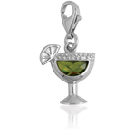 It's Charming Sterling Silver Green CZ Glass with Lime Charm