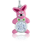 It's Charming Sterling Silver Pink and Green Rabbit with Circle CZ Charm