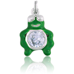 It's Charming Sterling Silver Green Enamel Frog with CZ Charm