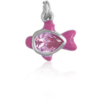 It's Charming Sterling Silver CZ and Pink Enamel Fish Charm