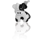 It's Charming Sterling Silver Black & White CZ Cartoon Cow Charm