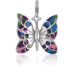 It's Charming Sterling Silver Butterfly with Enamel Wings Charm