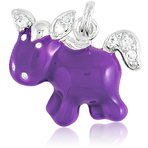 It's Charming Sterling Silver Purple Cartoon Horse with CZ Charm