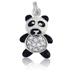 It's Charming Sterling Silver Black and White Panda with CZ Charm