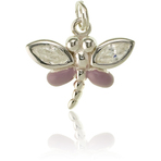 It's Charming Sterling Silver Pink Dragonfly with CZ Wings Charm