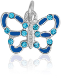 It's Charming Sterling Silver Blue Enamel and CZ Butterfly Charm