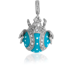 It's Charming Sterling Silver Blue and Clear CZ Bug Charm