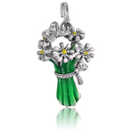 It's Charming Sterling Silver Green and White Bouquet with CZ Butterfly Charm