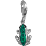 It's Charming Sterling Silver Black and Green Enamel CZ Frog Charm