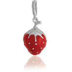 It's Charming Sterling Silver Red Enamel Strawberry Charm