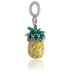 It's Charming Sterling Silver Green and Yellow Pineapple Charm