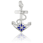 It's Charming Sterling Silver Blue enamel Anchor Charm