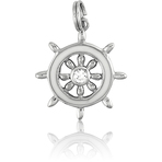It's Charming Sterling Silver White Ships Wheel with CZ