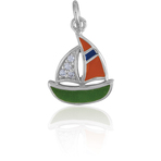 It's Charming Sterling Silver Green & Orange Sailboat with CZ