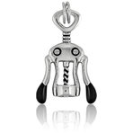 It's Charming Sterling Silver Black Corkscrew Opener Charm