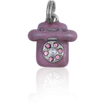 It's Charming Sterling Silver Purple Enamel and CZ Rotary Phone Charm