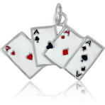 It's Charming Sterling Silver 4 Aces with Enamel Charm