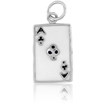 It's Charming Sterling Silver Black and White Ace of Clubs Charm