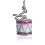 It's Charming Sterling Silver Pink and White Drum Charm