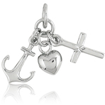 It's Charming Sterling Silver Hanging Heart, Anchor and Cross Charm