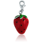 It's Charming Sterling Silver Green Red Strawberry Charm